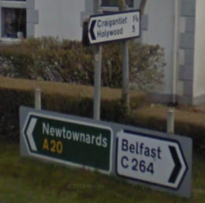 Primary road sign Newtownards